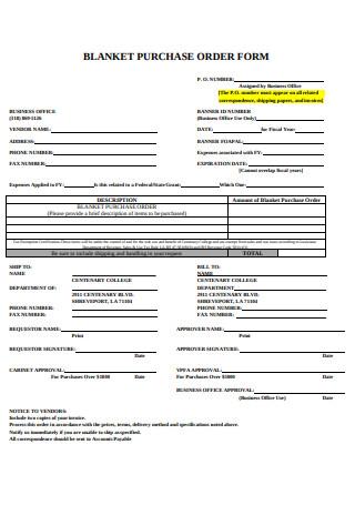 Blanket Purchase Order Form