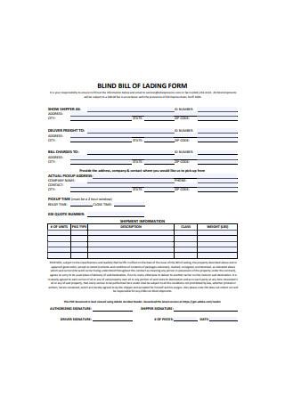 Blind Bill of Lading Form