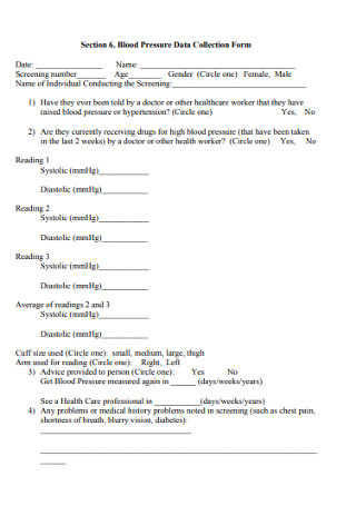 Blood Pressure Data Collection Form
