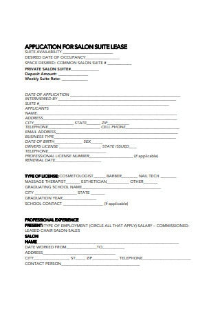 Booth Salon Lease Agreement Application