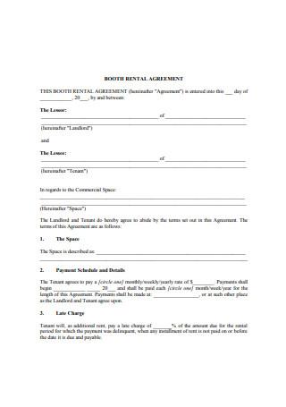 Booth Salon Rental Agreement