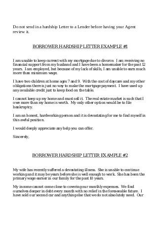 Borrower Hardship Letter