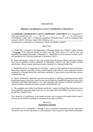 Broker Agent Commission Agreement