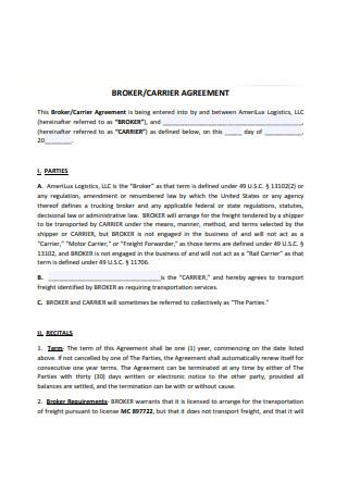 Broker Carrier Agreement Sample
