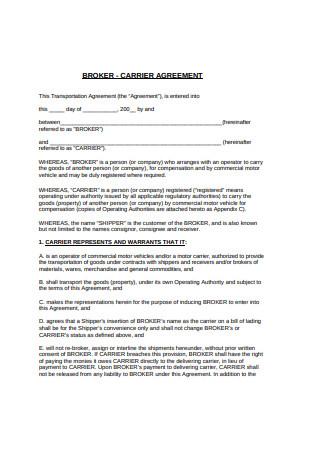Broker Carrier Agreement
