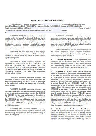 Broker Contractor Agreement