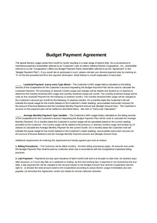 Budget Payment Agreement