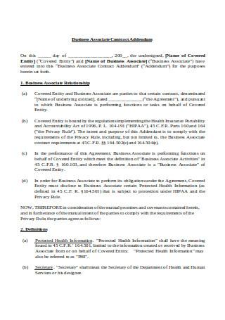 Business Associate Contract Addendum