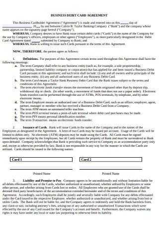 Business Debit Card Agreement