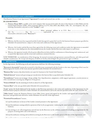 Business Finance Loan Agreement