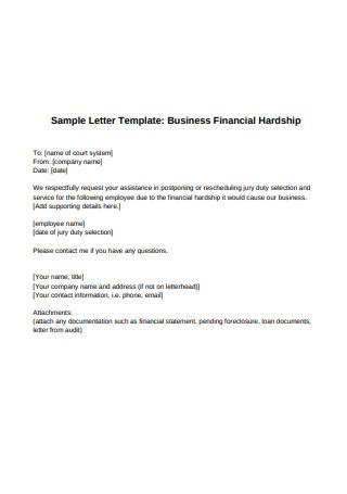 Business Financial Hardship Letter