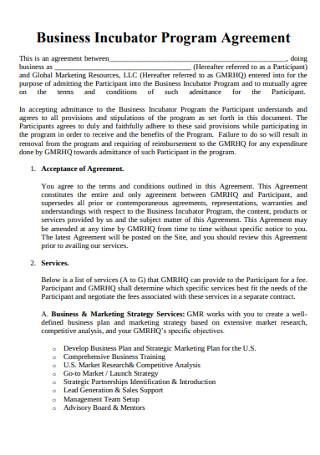 Business Incubator Program Agreement