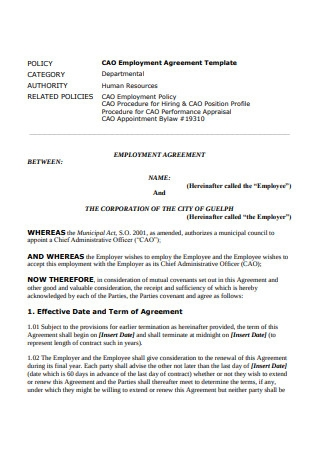 CAO Employment Agreement Template