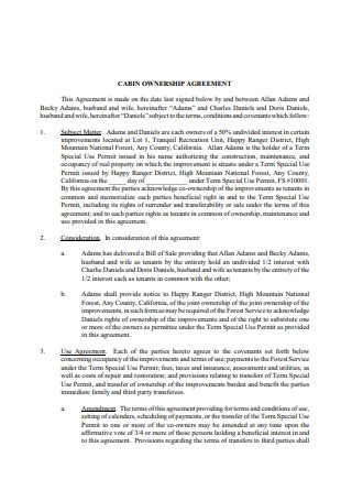 Cabin Ownership Agreement