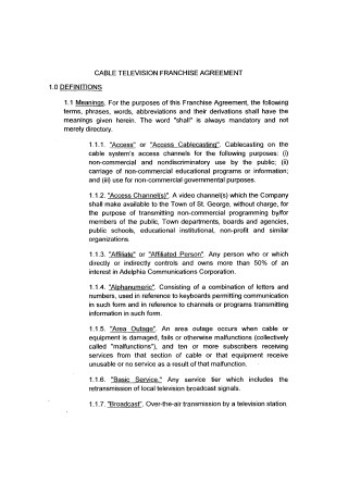 Cable Television Franchise Agreement Sample