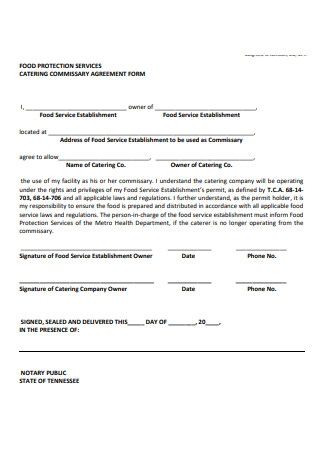 Catering Commissary Agreement