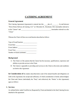 Catering Services Agreement Form Example