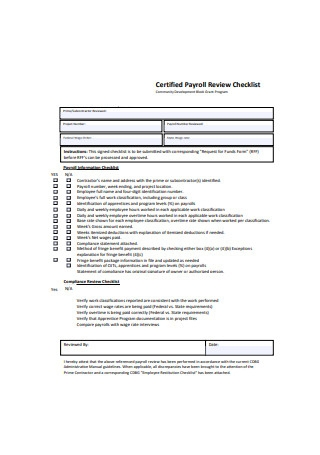 Certified Payroll Review Checklist
