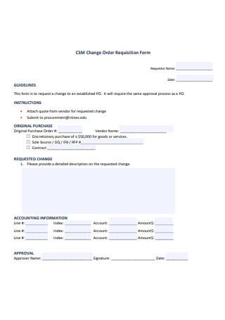 Change Order Requisition Form
