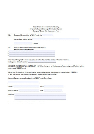 Change of Ownership Agreement Form