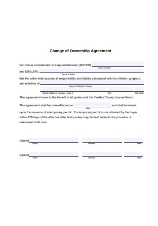 Change of Ownership Agreement