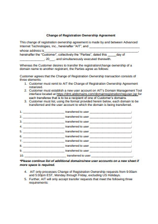 Change of Registration Ownership Agreement