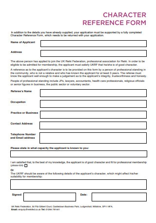 Character Reference Form Format