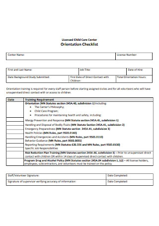 Child Care Center Orientation Checklist