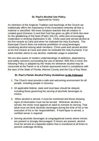 Church Alcohol Use Policy
