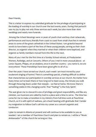Church Resignation Letter Format