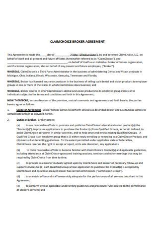 Claim Choice Broker Agreement