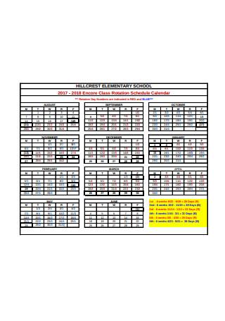 Class Rotation Schedule Calendar