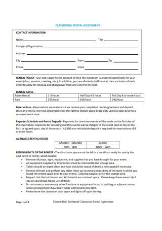 Classroom Rental Agreement