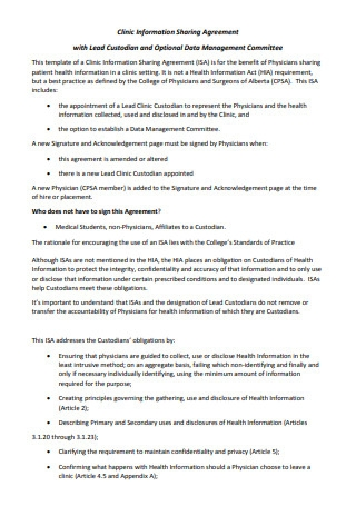Clinic Information Sharing Agreement