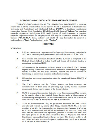 Clinical Collaboration Agreement