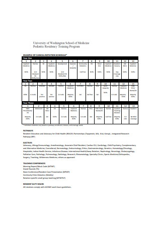 Clinical Rotation Schedule Format