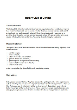 Club Core Values Statement