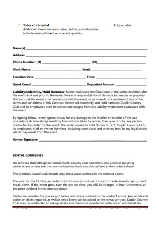 Clubhouse Rental Contract