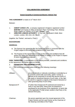 Collaboration Agreement Example