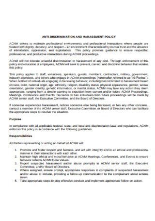 College Anti discrimination Policy