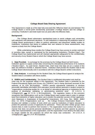 College Board Data Sharing Agreement