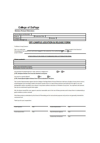 College Campus Location Release Form