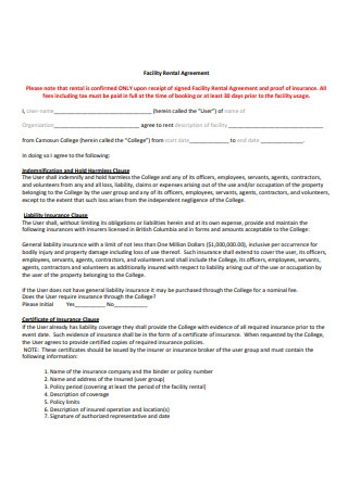 College Facilities Rental Agreement