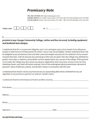 College Promissory Note