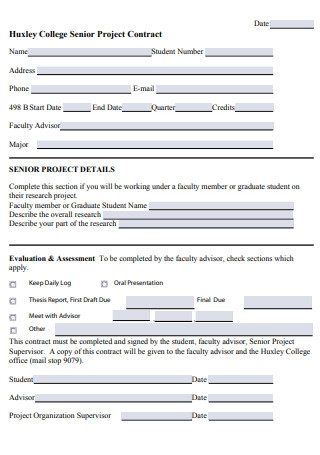 College Senior Project Contract