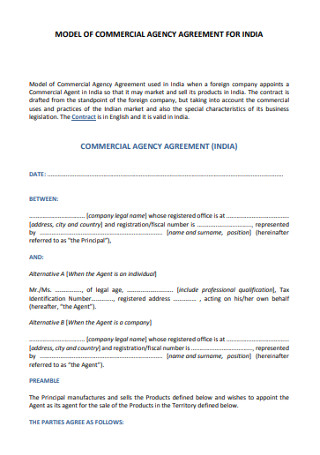 Commercial Agency Agreement
