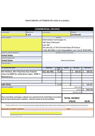 Commercial Company Invoice