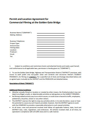 Commercial Film Location Agreement Sample