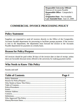 Commercial Invoice Processing Policy