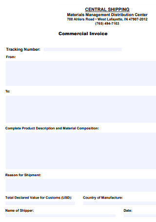 Commercial Materials Invoice